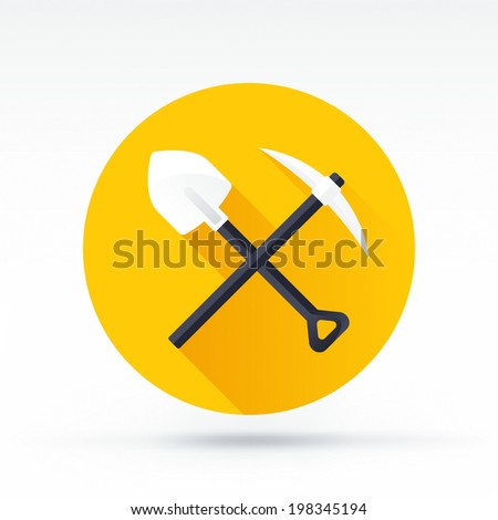 Flat style with long shadows, mining vector icon illustration. - stock vector