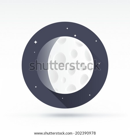 Flat style with long shadows, moon vector icon illustration. - stock vector