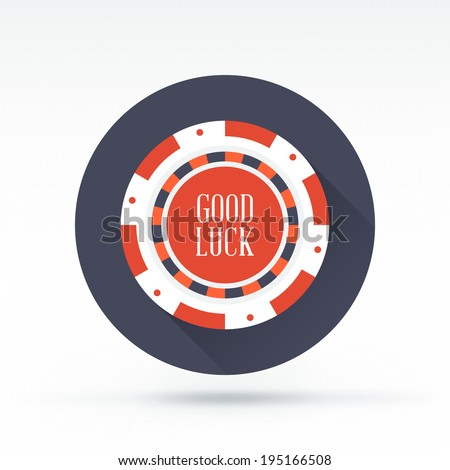 Flat style with long shadows, poker chip vector icon illustration. - stock vector