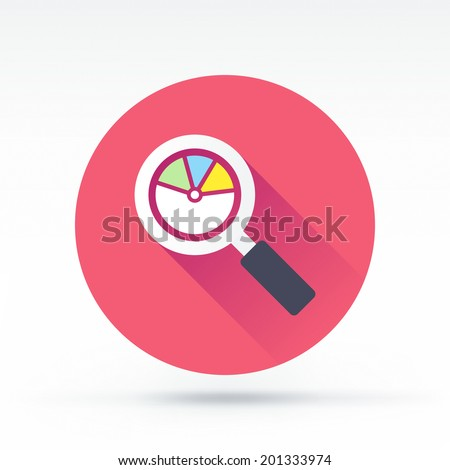 Flat style with long shadows, reading statistics vector icon illustration. - stock vector