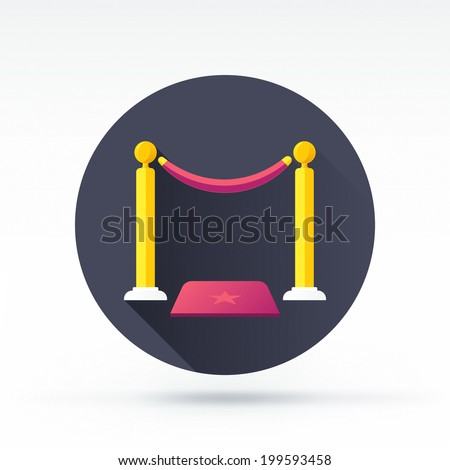 Flat style with long shadows, red carpet vector icon illustration. - stock vector