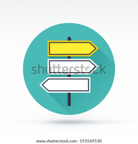 Flat style with long shadows, road signs vector icon illustration. - stock vector