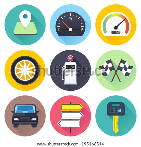 Flat style with long shadows, road trip themed vector icon illustrations set. - stock vector