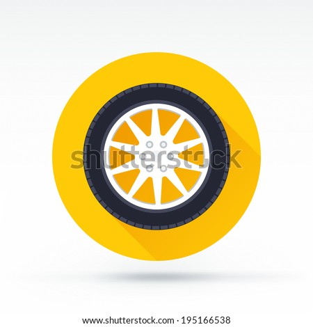 Flat style with long shadows, tire vector icon illustration. - stock vector