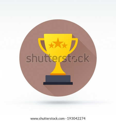 Flat style with long shadows, trophy vector icon illustration. - stock vector