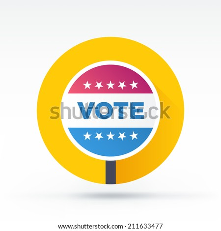 Flat style with long shadows, vote banner vector icon illustration.