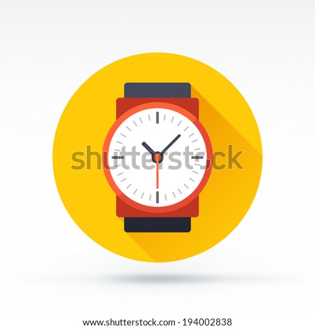 Flat style with long shadows, watch vector icon illustration. - stock vector