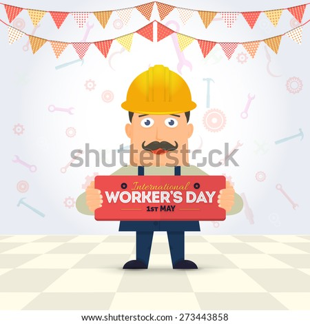 Flat Style Worker Hold Card, Worker's Day Typographic Lettering - stock vector