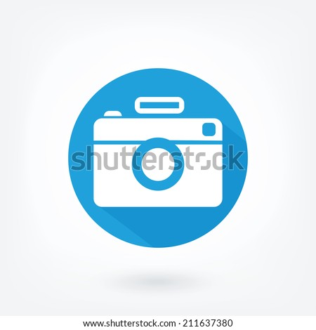 Flat styled icon of film camera. Hipster camera, like icon in blue circle with flash and long shaddow. - stock vector