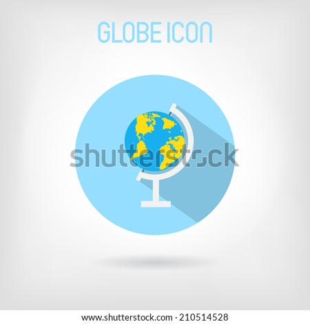 Flat-styled school globe icon. Blue and yellow globe with world map in blue circle. - stock vector
