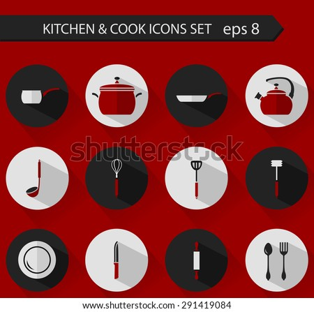 Flat stylish vector kitchen and cooking icons with long shadows. - stock vector