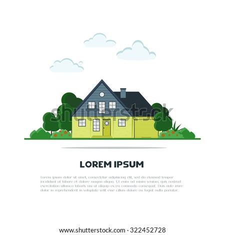 Flat suburb house with green trees and grass. Home background for card, banner, presentation template, real estate, social advertising, notebook cover, poster, postcard. Town vector illustration. - stock vector
