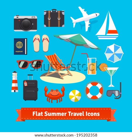 Flat summer travel icons. Vacation and tourism. EPS 10 vector set. - stock vector
