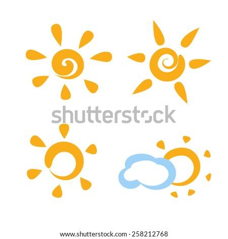 Flat sun icons in vector - stock vector
