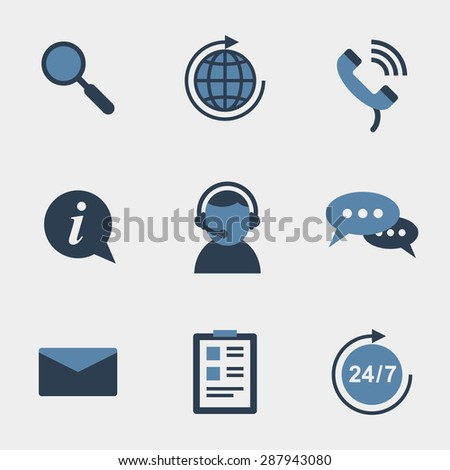 Flat support icons set. Assistant and microphone, 24 hours, telephone talk, helpline and network, hotline and callback. Vector illustration