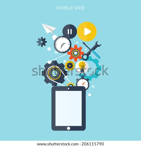 Flat support/service background. Mechanic service concept.  Web site creating. - stock vector