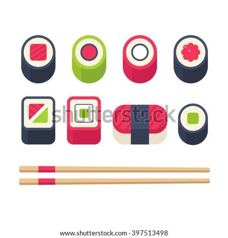 Flat sushi icons set. Japanese food, sushi rolls and sashimi with chopsticks. Vector illustration. - stock vector