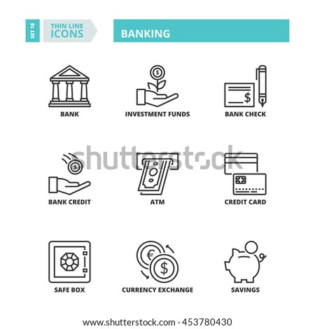Flat symbols about banking. Thin line icons set. - stock vector