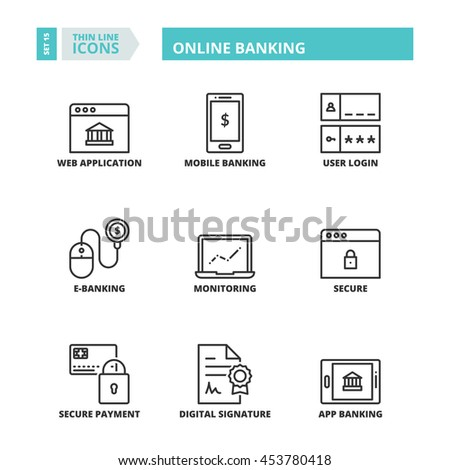 Flat symbols about online banking. Thin line icons set. - stock vector