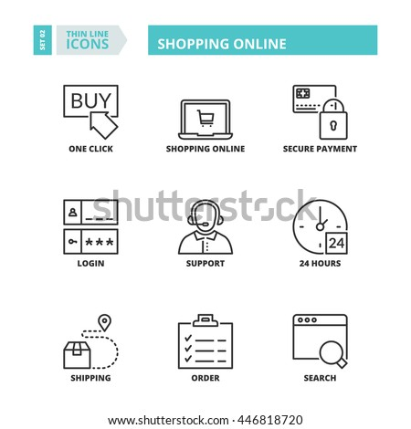 Flat symbols about shopping online. Thin line icons set. - stock vector