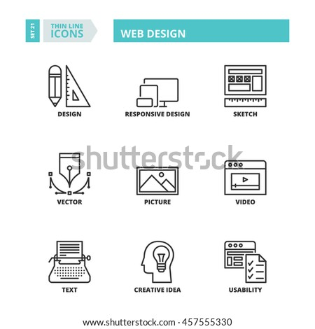 Flat symbols about web design. Thin line icons set. - stock vector