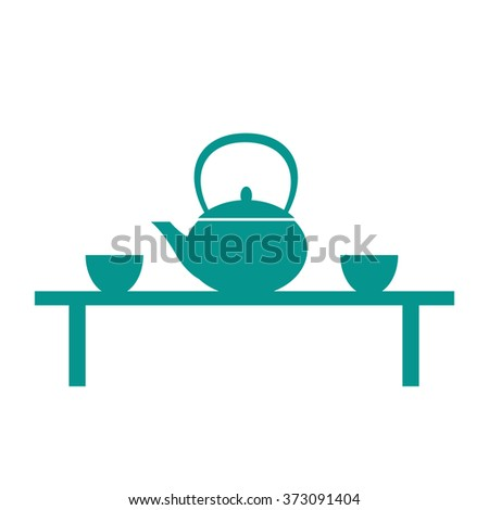 Flat tea table icon: kettle and tea cups - stock vector