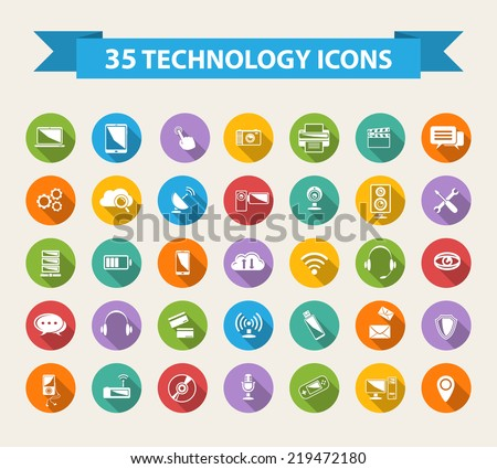 Flat Technology Icons  with long shadow.Big set - stock vector