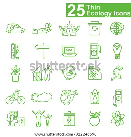 Flat thin line ecology icons - stock vector