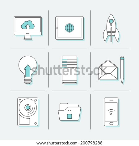 Flat thin line icons for business computer project. Vector illustration - stock vector