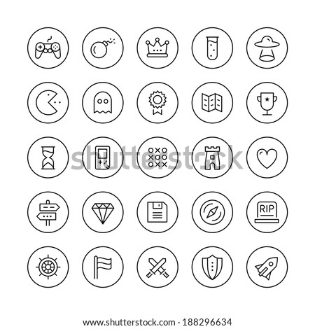 Flat thin line icons set modern design vector collection of game playing award, retro gaming symbol collection, play classic games on video console with game controller. Isolated on white background. - stock vector