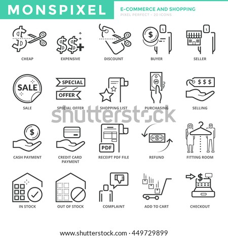 Flat thin line icons set ecommerce stock vector hd royalty free flat thin line icons set of e commerce and shopping pixel perfect icons altavistaventures Images
