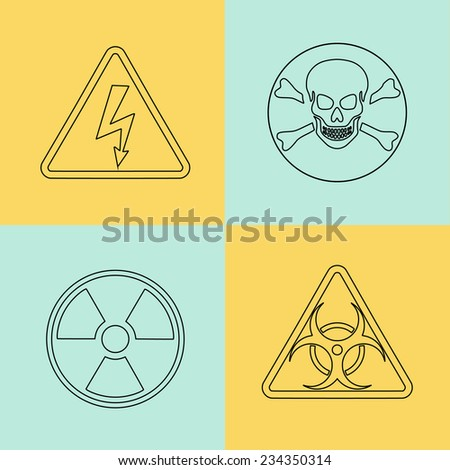 Flat thin line vector warning signs, symbols. Danger, poison, skull crossbones, biohazard, electricity high voltage, chemical waste, radioactive, toxic alert caution icon set - stock vector