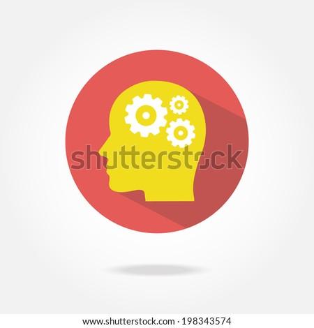 Flat thinking icon. - stock vector