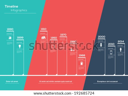 Flat Timeline Infographic. Vector design template.  - stock vector