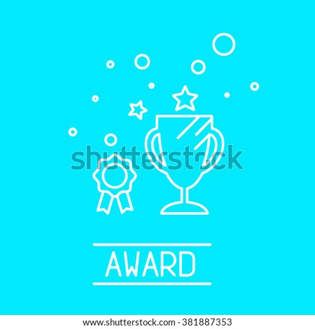 Flat tiny line design icon of award topic including winners cup, medals and medallion. It'll usefully for web and print. Award icon and logotype