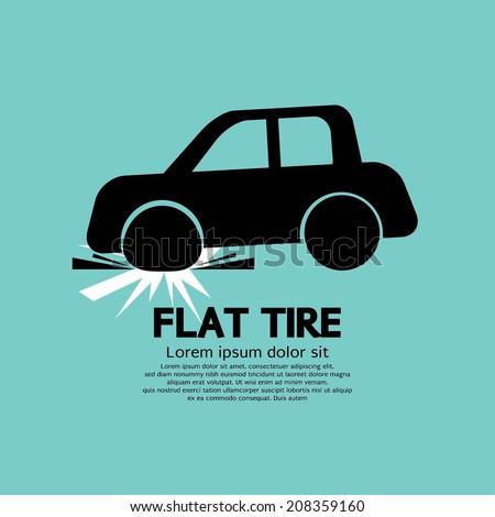 Flat Tire Car Black Graphic Vector illustration - stock vector