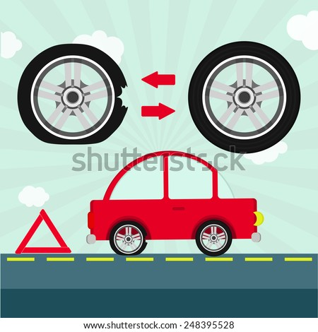Flat tire on the road. Car with flat tire on the road and warning triangle. Detail showing tire change. - stock vector