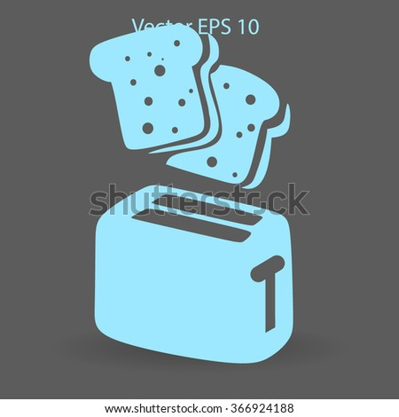 Flat toaster vector icon - stock vector