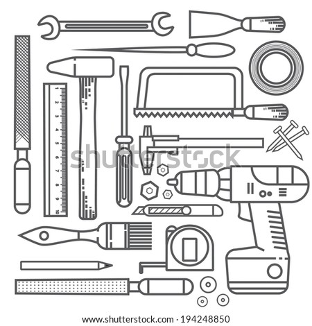 Flat tools outline - stock vector