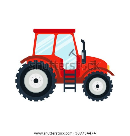 Flat tractor on white background. Red tractor icon - vector illustration. Agricultural tractor - transport for farm in flat style. Farm tractor icon. Tractor icon vector illustration. - stock vector