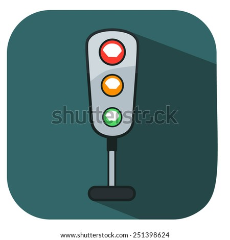 flat traffic light icon
