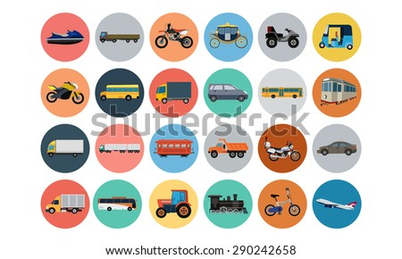Flat Transport Icons 4 - stock vector