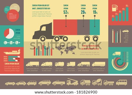 Flat Transportation Infographic Elements plus Icon Set. Vector. - stock vector
