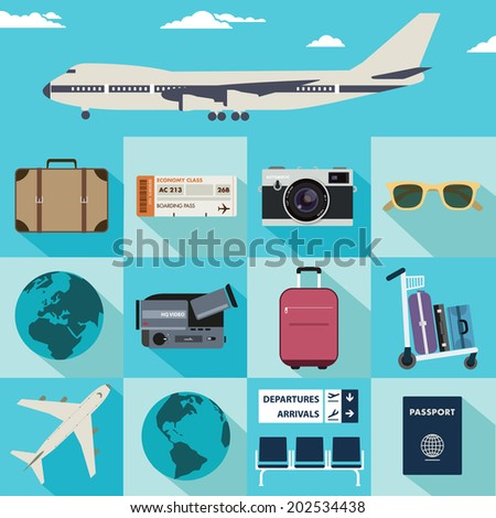 Flat travel illustration set - stock vector