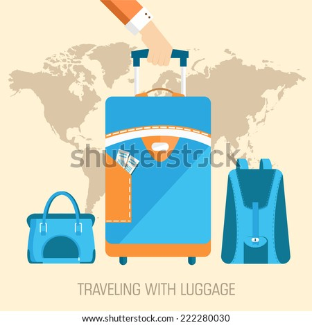 flat travel with baggage illustration design concept background. eps10 vector - stock vector