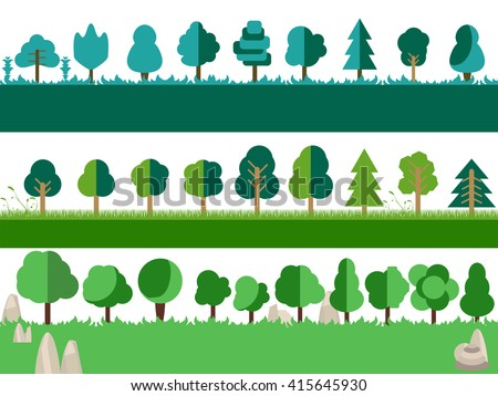 Flat trees, rocks, bushes and grass. Vector icons. - stock vector