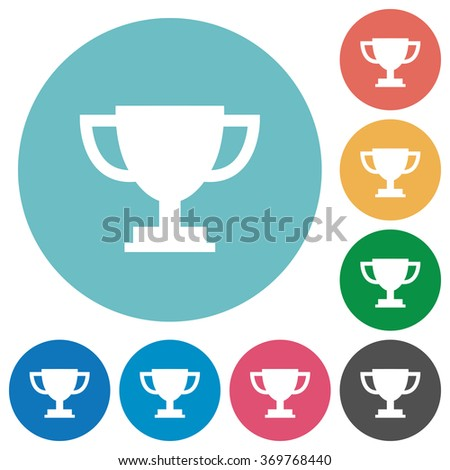 Flat trophy cup icon set on round color background.
