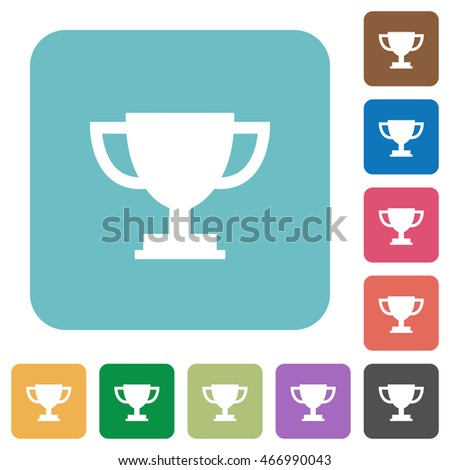 Flat trophy cup icons on rounded square color backgrounds.