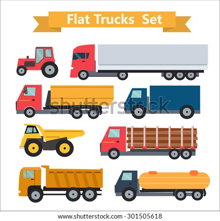 Flat Trucks Set Vector Illustration EPS10 - stock vector