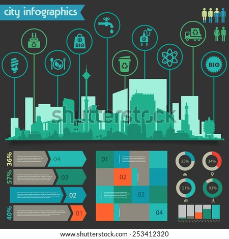 Flat ui design eco city infographics template with steps option banners collection - stock vector